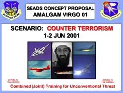 Bin Laden is pictured on the cover of the first Amalgam Virgo exercise.