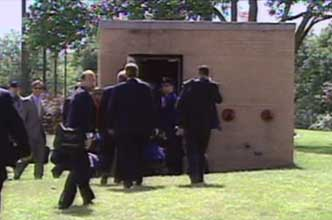 The entrance to the Offutt Air Force Base's bunker, very far underground. Bush officials are seen here entering it on 9/11.