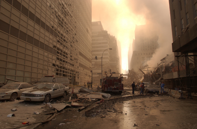 Image of Steam Rising Off WTC7 Debris