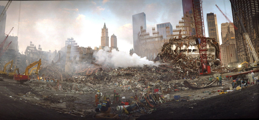 Wide Format Image of Steam Rising Off WTC Debris